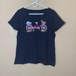 Talbots embellished bicycle graphic tee